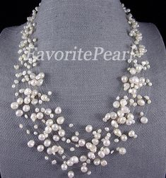 Pearl Necklace 15 Strand 18225 Inches 45mm by FavoriteJewellery. $19.50 USD, via Etsy.
