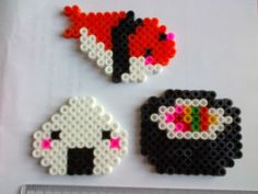3 sushi magnet set hama beads fridge by akashalondon