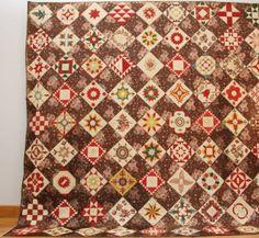 Quaker Album or Friendship Quilt :: Conner Prairie Museum Textile Collection,81 blocks dated 1843