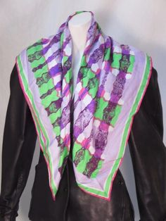 3e8e376c98e8 Details about Vintage Vera Neumann Abstract Silk Long Square Scarf