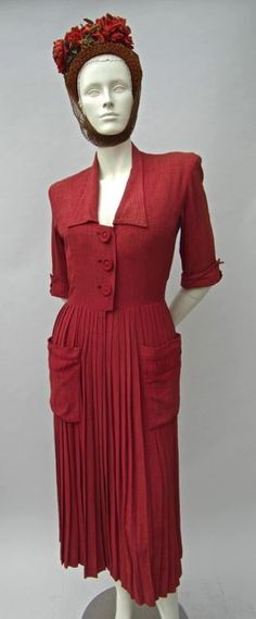 FC0446 Dress, coral raw silk shantung, Jacques Fath, Paris, c. 1947