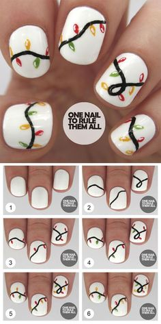 Who doesn't love properly manicured and well-groomed christmas nails. Ensuring you get as creative with your christmas nails as you are with your clothes is the industry of christmas nail art designs. Holiday Nail Art, Christmas Nail Art Designs, Chrismas Nail Art, Christmas Design, Cute Christmas Nails, Christmas Lights, Diy Xmas Nails, Christmas Nail Polish, Christmas Ideas