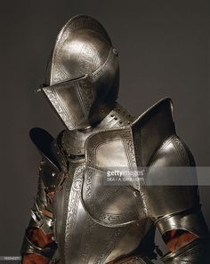 Stock Photo : Horse tournament armor in steel decorated with engravings, made in…
