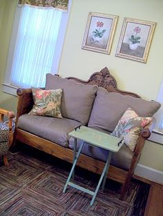 Pretty sofa made from antique headboard and footboard. Pretty sofa made from antique headboard and footboard. Decor, Redo Furniture, Small Space Interior Design, Home Furniture, Upcycled Furniture, Headboard Benches, Recycled Furniture, Repurposed Headboard, Headboard And Footboard