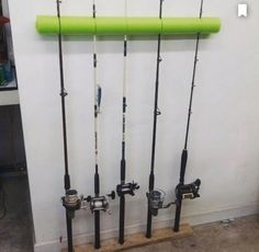 Great storage for fishing poles...a pool noodle & a piece of wood.