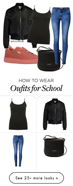 """""""School Outfit"""" by diavianshanelle on Polyvore featuring Sans Souci, Lancaster, M&Co, WithChic, cute, casual, nice, black and puma"""