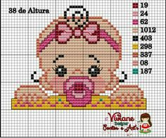 Baby girl pattern by Viviane Pontos e Art's Cross Stitch Boards, Mini Cross Stitch, Cross Stitch Heart, Simple Cross Stitch, Baby Girl Patterns, Kids Patterns, Cross Stitching, Cross Stitch Embroidery, Easy Cross Stitch Patterns