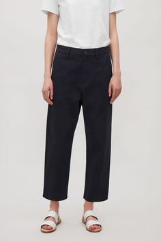 COS image 12 of Relaxed cotton chinos in Navy