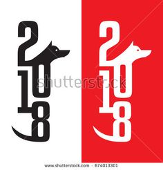 Chinese new year for the year of the dog 2018 text design for logo, flyer, brochure, invitation, banners, calendar, greeting card and can be use for artwork homepage or website. Vector illustration