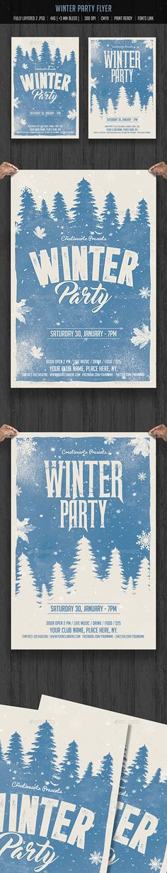 Buy Winter Party Flyer by creativeartx on GraphicRiver. Christmas Design, Christmas Art, Flyer Design, Layout Design, Christmas Flyer Template, Plakat Design, Winter Festival, Christmas Graphics, Christmas Poster