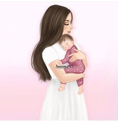 Mother Daughter Art, Mother Art, Mom Daughter, Mother And Child, Daughters, Sarra Art, Girly M, Girly Drawings, Baby Drawing