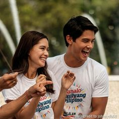"""This is the handsome Daniel Matsunaga and the pretty Erich Gonzales smiling for the camera at the Rizal Park during the taping of the 2016 ABS-CBN Summer Station ID and Halalan 2016 Station ID, """"Ipanalo ang Pamilyang Pilipino!"""" They are promoting awareness to all Filipinos to vote wisely on Halalan 2016. #DanielMatsunaga #ErichGonzales #Halalan2016 #IpanaloangPamilyangPilipino Rizal Park, Star Magic, Teen Actresses, Geronimo, Filipina, Abs, 2 In, Photo Credit, Handsome"""