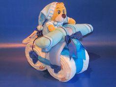 Windeltorten - ♦Süßes Windelmotorrad mit Kuschelbärchen in blau♦ - ein Designerstück von Geschenketorten-Gebhardt bei DaWanda