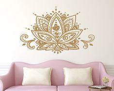 Ornamento de Mandala de la calcomanía de pared diseños Lotus flor pared calcomanías murales India meditación dormitorio Yoga Studio Boho bohemio pared decoración arte C117 por FabWallDecals