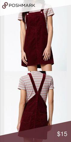 Maroon overall dress Maroon corduroy dress Kendall & Kylie Dresses
