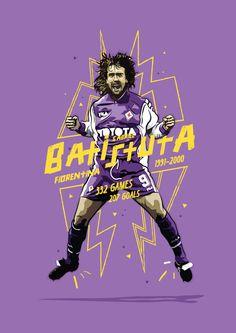Gabriel Batistuta Fiorentina Print by KieranCarrollDesign on Etsy