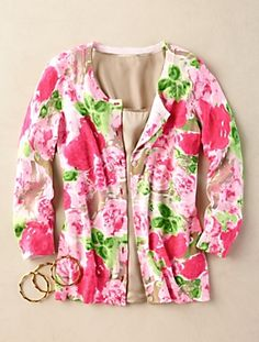 Talbots - Watercolor-Floral Charming Cardigan