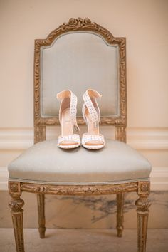 From Vanessa Traina's wedding. Givenchy studded white satin-and-leather heels.