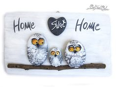 Unique Handmade 'Home Sweet Home' Snowy Owls Family от owlsweetowl