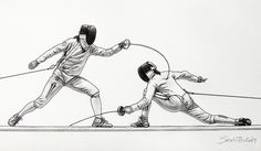 Fencing sketch: The Art of Fencing Portfolio 2009-2010 by Sascha Brock, via Behance