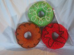 Knit Donuts donut decorated donut knit by TCsgirlscrafting on Etsy, $7.00