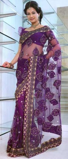 Purple Net #Saree With #Blouse @ $130.14 | Shop Here: http://www.utsavfashion.com/store/sarees-large.aspx?icode=syc1652