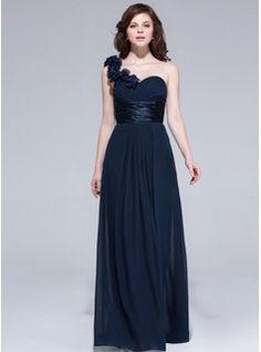 A-Line/Princess One-Shoulder Floor-Length Chiffon Charmeuse Bridesmaid Dress With Ruffle Flower(s)