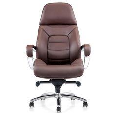 Gates Genuine Leather Aluminum Base High Back Executive Chair - Dark brown