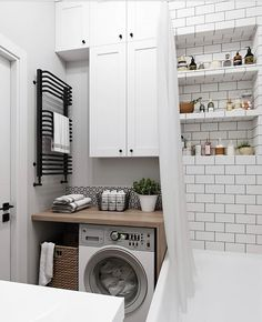 20 Brilliant Laundry Room Ideas for Small Spaces - Practical & Efficient Breathtaking small laundry/utility room ideas // small bathroom laundry room combo ideas Laundry Room Bathroom, Laundry Room Design, Small Bathroom, Bathroom Ideas, Modern Bathroom, Laundry Rooms, Bath Room, Bathroom Designs, White Bathroom