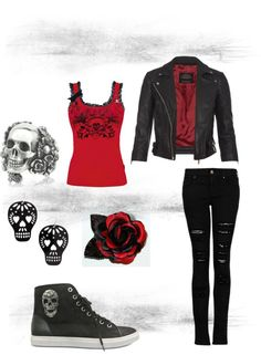 Skulls and Roses /// Red Tank Top Black Motto Jacket Emo Outfits For School Teen Women Black and Red Skull Converse Dark Fashion, Emo Fashion, Gothic Fashion, Love Fashion, Fashion Outfits, Womens Fashion, Lolita Fashion, Fashion Boots, Rockabilly Vintage
