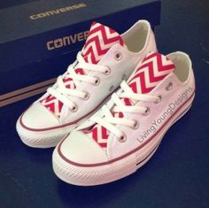 Red & White Chevron Converse Shoes