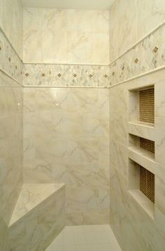 Shower should be the most relaxing areas of your home. Visit Westside Tile to look at shower tile, shower floor tile and shower wall tile. Tile Shower Niche, Bathroom Niche, Shower Tile Designs, Shower Floor Tile, Bathroom Ideas, Bathroom Remodeling, Bathroom Accent Wall, Bathroom Accents, Bathroom Wallpaper