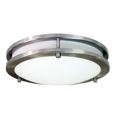 eLIGHT�12-in W Brushed Nickel Ceiling Flush Mount $62 Lowes C1 fixture in kitchen. Complements banquette fixture.