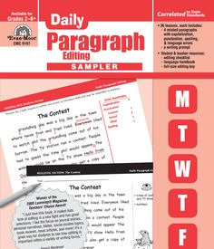 Free Sampler!! Daily Paragraph Editing.  Students are both editors and writers, applying grade-level language skills to correct a paragraph Monday-Thursday and complete a related writing exercise on Friday.