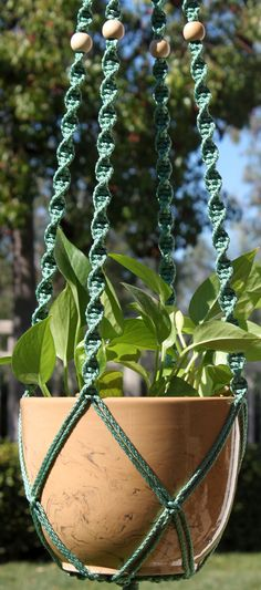 HELIX Teal Green #Handmade #Macrame Plant Hanger In SAGE By  #ChironCreations Http: