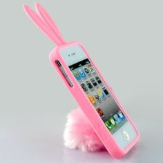 New Cute Rabito Rabbit Rubber Case Cover Stand with Tail Holder for AT Verizon Apple Iphone 4 4G 4S: Cell Phones & Accessories