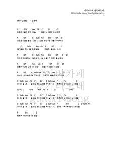 혼자남은 밤 - 김광석 [기타코드악보] : 네이버 블로그