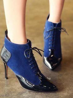 Doresuwe.com SUPPLIES 2015秋冬レディース ファッション スプライスヒールレース アップアンクル尖頭ブーツ ブーツ (5)