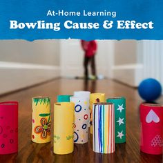 Explore cause and effect with your child by creating a DIY bowling game. You can use plastic water bottles or paper towel rolls as pins. Pre K Activities, Preschool Learning Activities, Preschool At Home, Preschool Science, Preschool Lessons, Infant Activities, Classroom Activities, Preschool Activities, Teaching Kids
