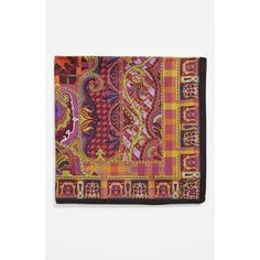 $110, Burgundy Print Pocket Square: Etro Silk Pocket Square. Sold by Nordstrom. Click for more info: https://lookastic.com/men/shop_items/80643/redirect
