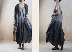 Women Gray Gradient Cotton Linen Dress With Long Sleeve Shawl Loose Fit Dress Maxi Sleeveless Dress Travel Line Clothes 2pcs Set Dresses