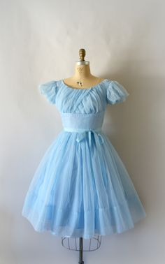 Vintage 1950s Pale Blue Party Bridesmaid Party Dress from Sweetbeefinds