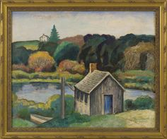 """""""Chatham Boat House,"""" Harold C. Dunbar, oil on board, 24 x 28"""", private collection."""