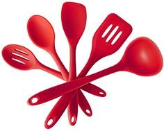 Premium Silicone Kitchen Cooking Utensil Set5 Piece Heat Resistant Professional Cooking Tools In Hygienic Solid Coating  Cherry Red ** See this great product.