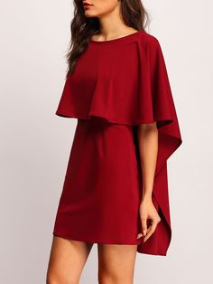 Burgundy Batwing Sleeve Backless Ruffle Bodycon Dress