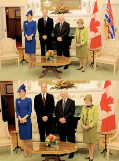 The Duke and Duchess of Cambridge with David Johnston, Governor General of Canada and his wife Sharon Johnston at Governement House