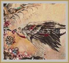 Bird cross stitch pattern Modern counted cross stitch pattern An Offering for Absolution by UnconventionalX on Etsy