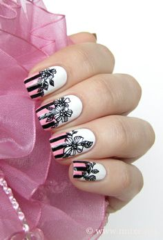 Pink stripes and black flowers. #nailart