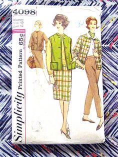 Vintage pattern. Simplicity 4098.  1960s Misses by Fancywork, $8.00