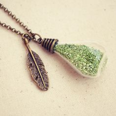 Tiny Vial Necklace with Green German Glass by DearDelilahHandmade, $26.00
